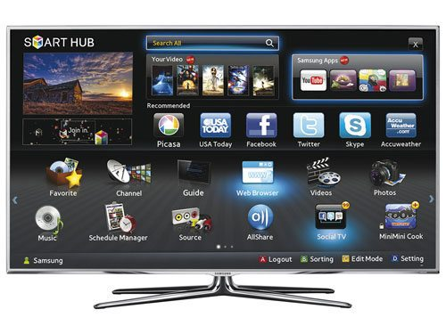 Запущенный Smart Hub на телевизоре