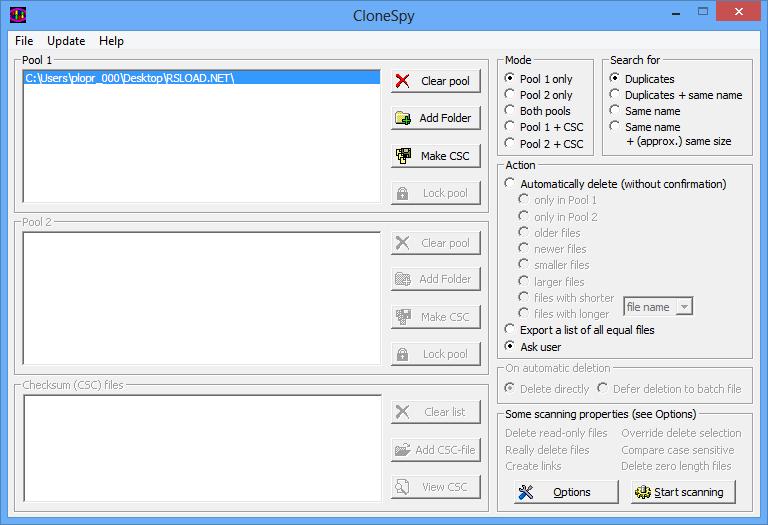 Главное меню CloneSpy