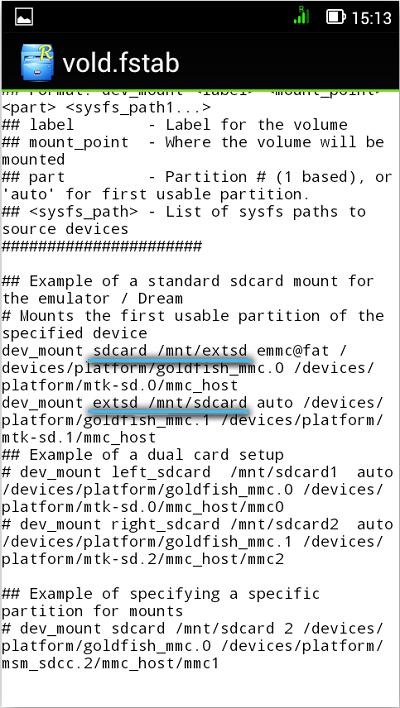 Изменённые значения в файле «vold.fstab»