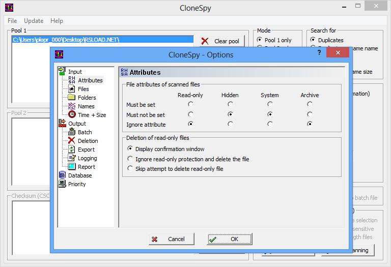 Настройка параметров поиска и удаления дубликатов в CloneSpy
