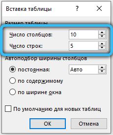 Параметры будущей таблицы в MS Word