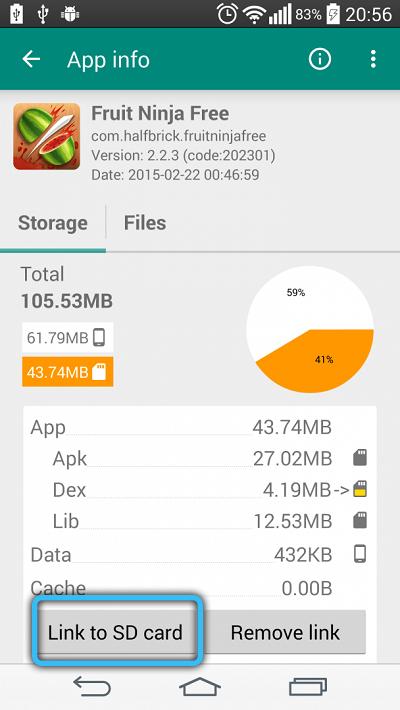 Перенос на карту памяти в Link2SD