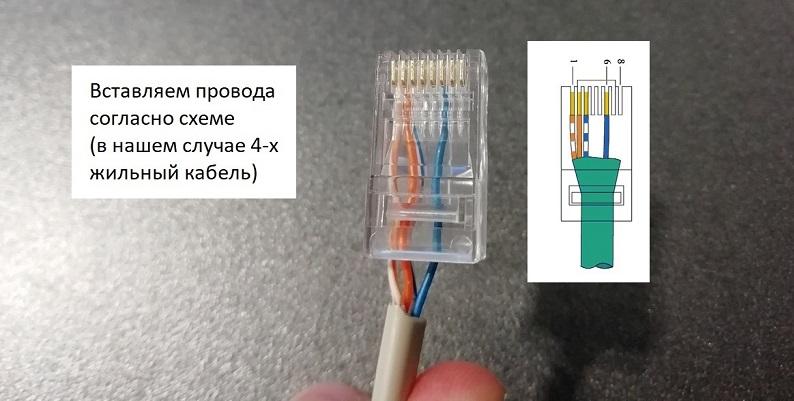 Вставка проводов согласно схеме