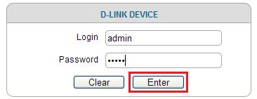 Ввод логина и пароля для входа веб-интерфейс роутера D-Link