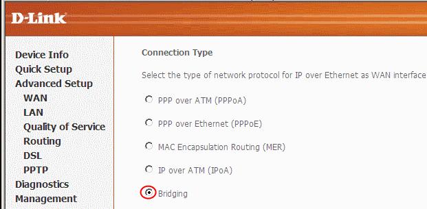 Выбор Bridging в Connection Type