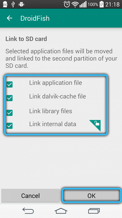 Выбор файлов для переноса на карту памяти в Link2SD