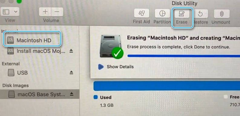 Выбор накопителя для установки macOS