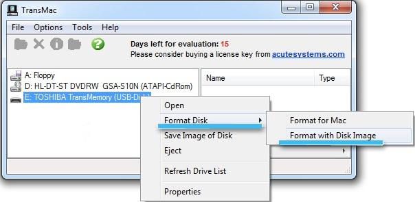 Запись флешки с macOS в TransMac
