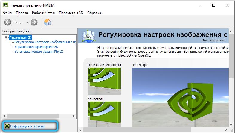Информация о системе в панели управления NVIDIA