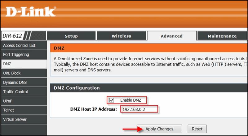 Как включить DMZ на D-Link