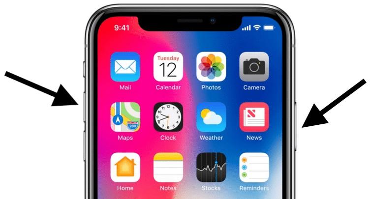 Кнопки для создания скриншота на iPhone