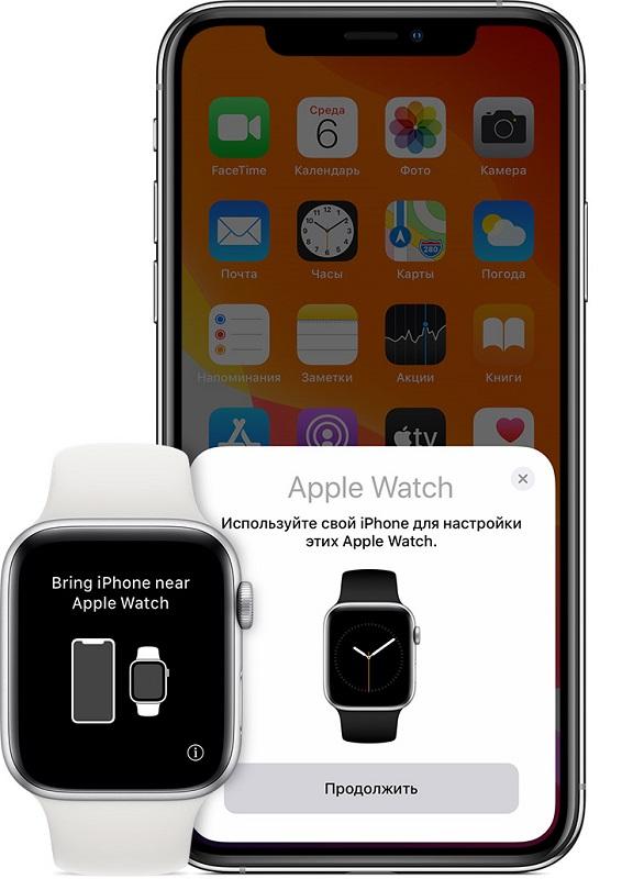 Поднесение Apple Watch к iPhone
