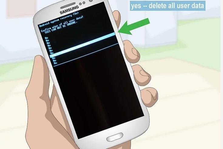 Подтверждение удаления всех данных на Samsung