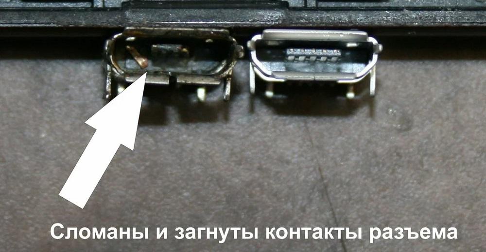 Повреждение разъёма для зарядки планшета