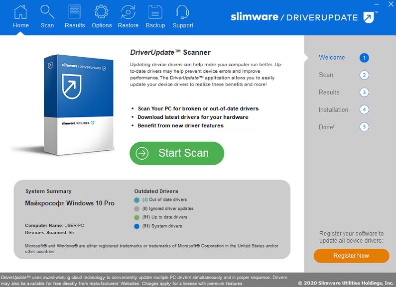 Программа SlimDrivers