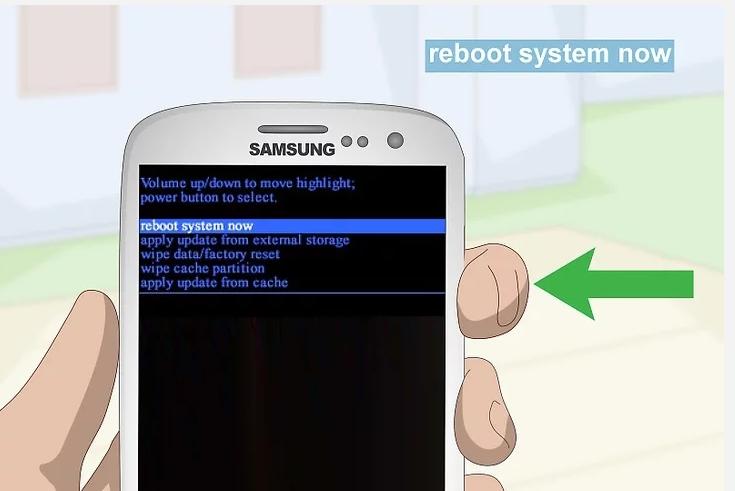 Пункт «Перезагрузите систему сейчас» на Samsung