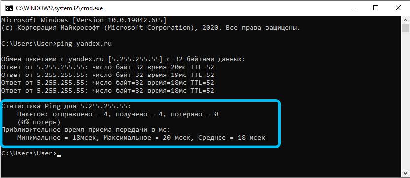 Результаты пропинговки сайта Яндекс