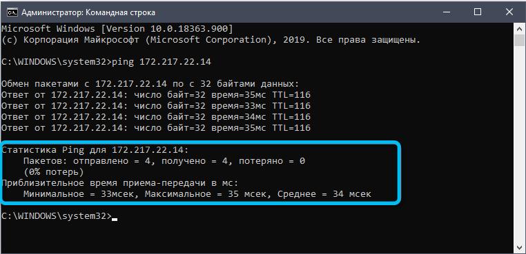 Статистика Ping для IP-адреса