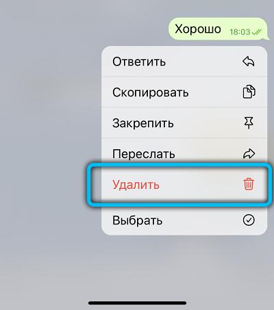Удаление сообщения в Telegram на iPhone