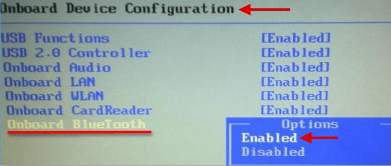 Включение Bluetooth в BIOS