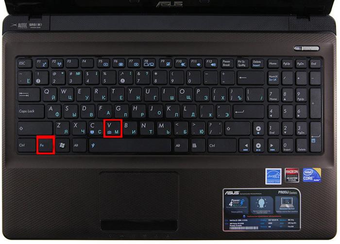 включение камеры на ноутбуке ASUS
