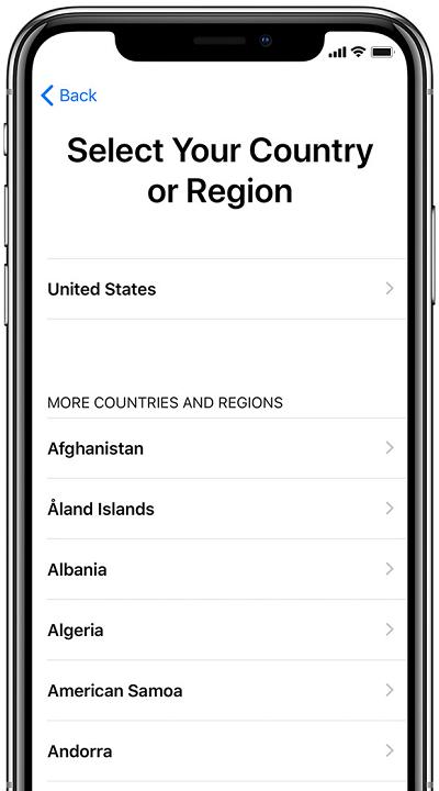 Выбор страны или региона на iPhone