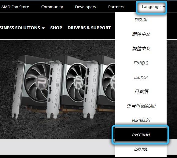 Выбор языка на официальном сайте AMD