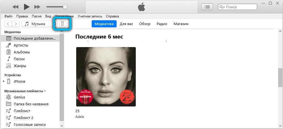 Значок телефона в iTunes