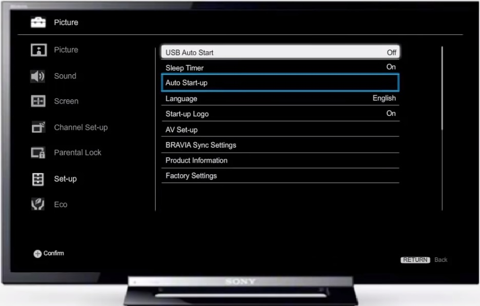 Автоматический запуск в настройках телевизора Sony