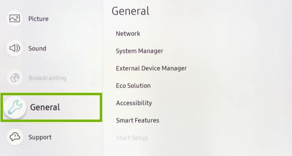 Переход к главным настройкам телевизора Samsung для изменения пароля