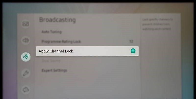 Пункт «Apply Channel Lock» на телевизоре Samsung