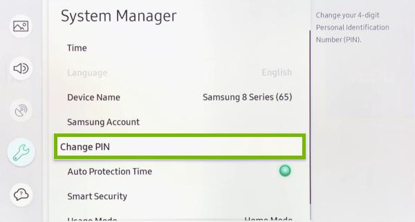 Пункт «Изменение PIN» в телевизоре Samsung