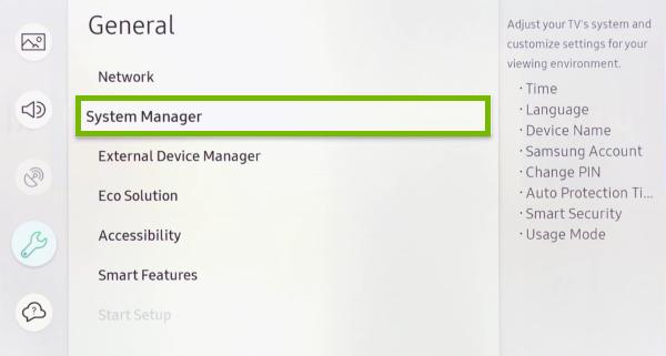 Пункт «System Manager» в телевизоре Samsung