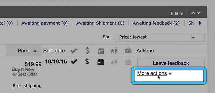 Кнопка «Дополнительные действия» на eBay