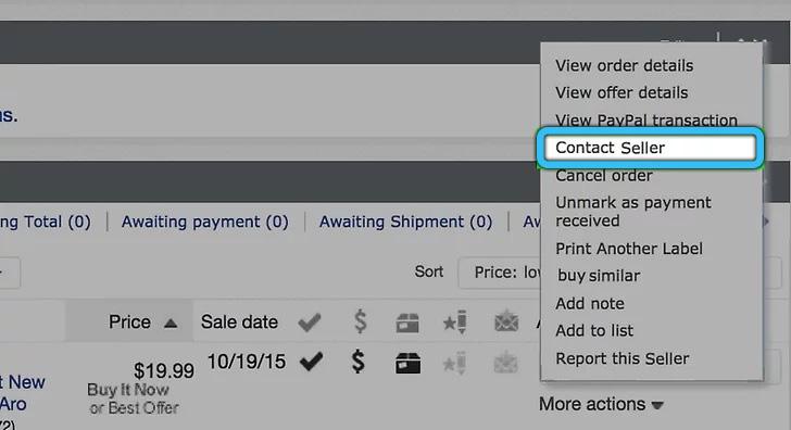 Кнопка «Связаться с продавцом» на eBay