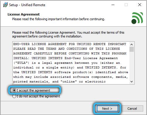 Лицензионное соглашение Unified Remote
