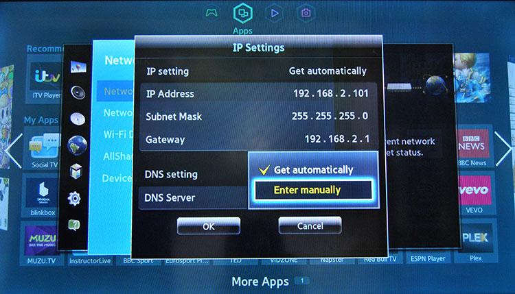 Настройка DNS сервера на телевизоре Самсунг