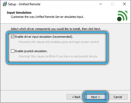 Параметры установки Unified Remote