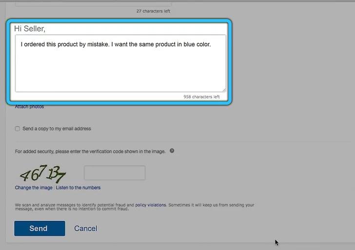 Поле с объяснением причин для отмены на eBay