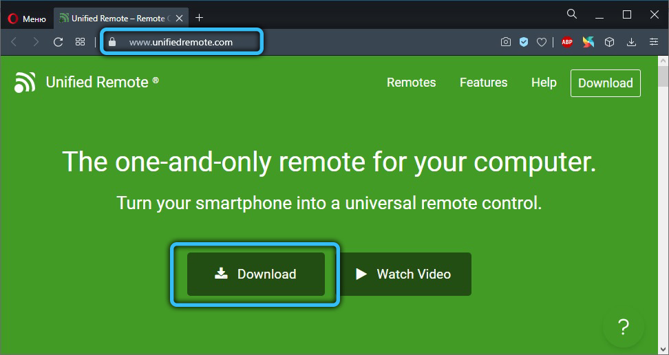 Скачивание Unified Remote на ПК