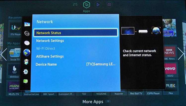 Статус сети на телевизоре Самсунг