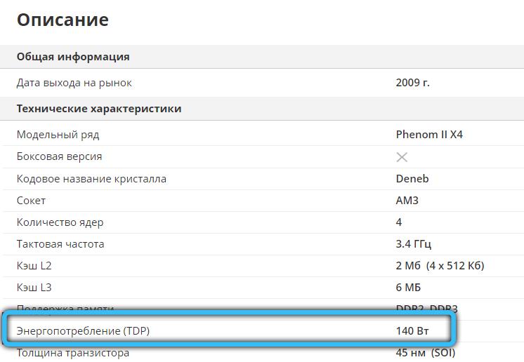 TDP процессора на сайте