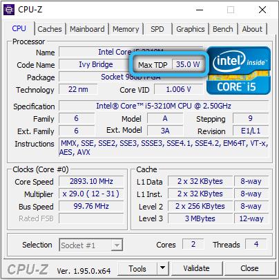 TDP процессора в CPU-Z