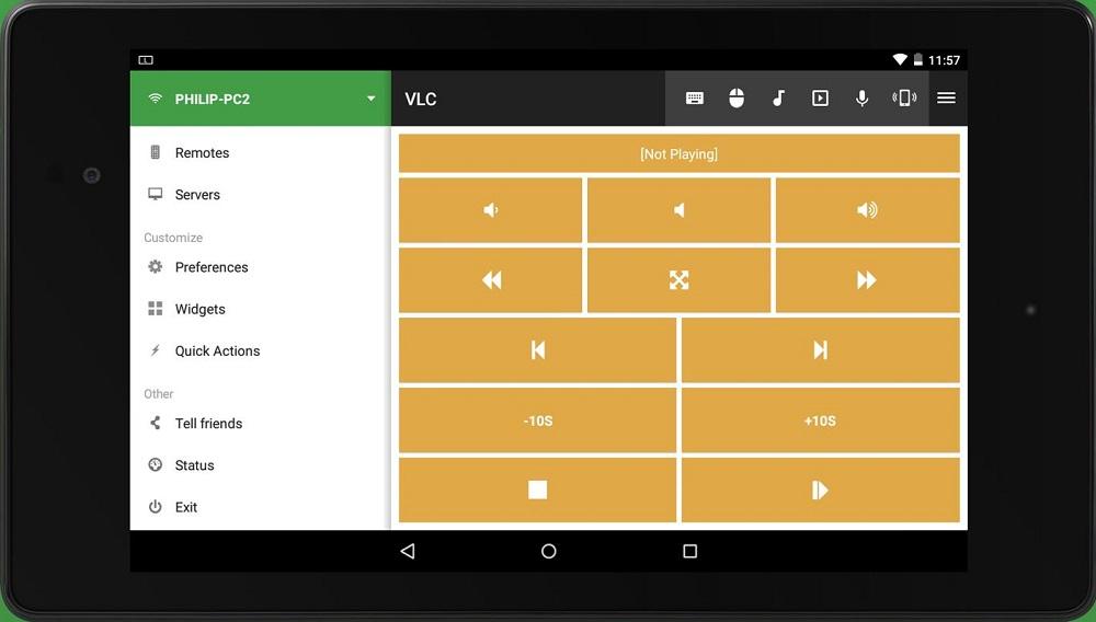 Unified Remote на планшете