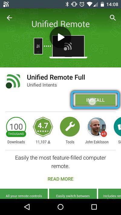 Установка приложения Unified Remote