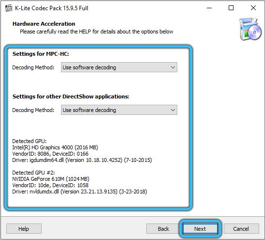 Уточнение деталей для установки пакета K-Lite