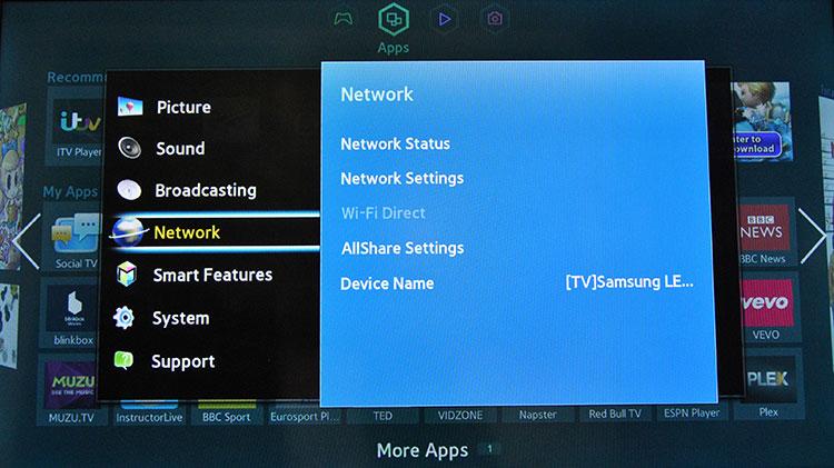 Вкладка «Сеть» на телевизоре Самсунг