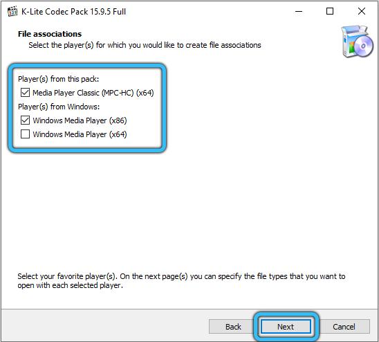 Выбор плееров для установки пакета K-Lite