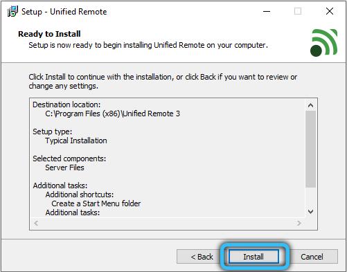 Запуск установки Unified Remote