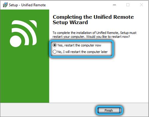Завершение установки Unified Remote